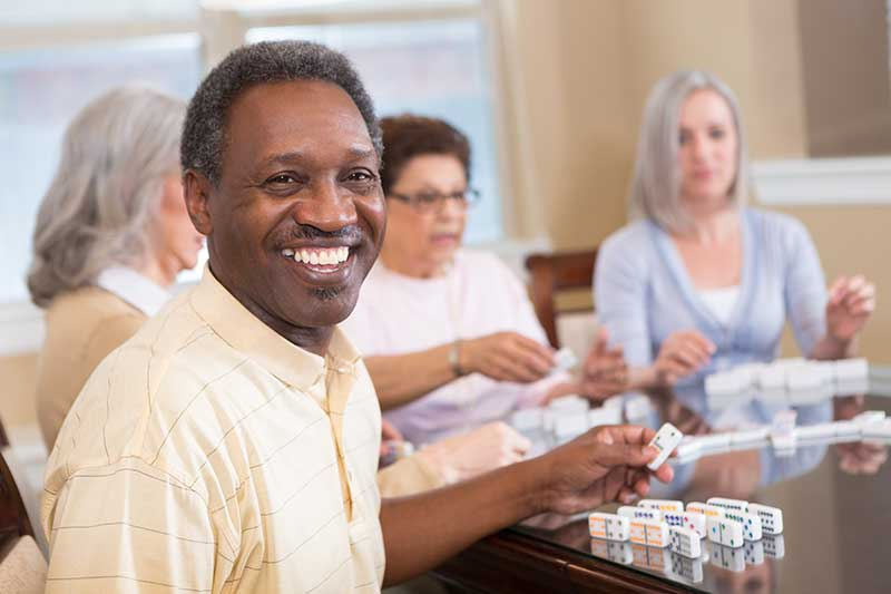 seniors playing dominos