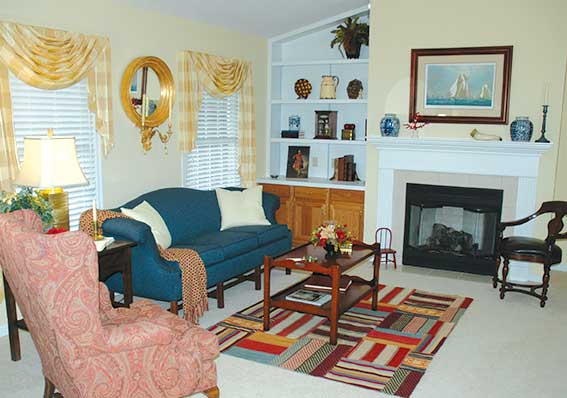 villa homes living room fireplace